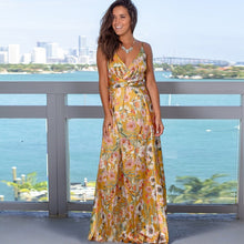 Load image into Gallery viewer, Women's Sling Floral Long Dresses arrival Summer Boho V-Neck Sleeveless  Party Beach Floarl Print  Maxi Dress Casual Sundress