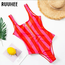 Load image into Gallery viewer, RUUHEE 2021 Swimwear Women One Piece Swimsuit Zipper Printed Solid Striped Swimming Suit Bodysuit Monokini Swimsuit Female
