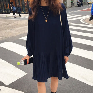LANMREM 2021 New Korean Summer Fashion Women Clothes Vacation Dresses Lantern Sleeves Pullover Loose Chiffon Dress Pleated WG686