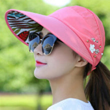 Load image into Gallery viewer, Women Flower UV Protect Sun Hat Foldable Large Brim Visor Cap Beach Sun Hat Outdoor Fashion