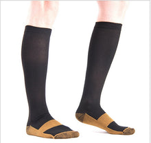 Load image into Gallery viewer, Men Women Compression Socks Fit For Football Sports Anti Fatigue Pain Relief Knee High Stockings Black Compression Socks 1 Pair