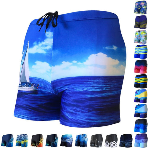 Mens Swimsuit Swimwear Swimming Trunks Beach Shorts Boxer Briefs Men Male Multi Prints Swim Pool Bathing Surfing Pants Suit Wear