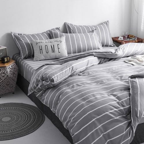 Gray Stripes Bedding Set Nordic Double Twin Bedspread Duvet Cover Set Home Decor Bed Linen Set Bedclothes Adult Bedding 4PCS Set