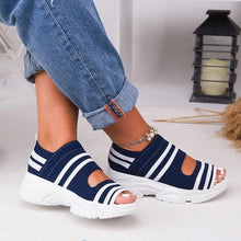 Load image into Gallery viewer, New Women Sandals 2021 High Heels Platform Women Shoes Summer Casual Female Sneakers Knitting Slip On Peep Toe Women Sandals