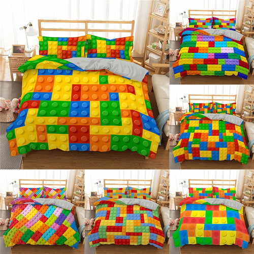 3D Building Block Pattern Duvet Cover For Home Textiles Bedroom Quilt Covers Bedding Set With Pillowcase Home Decor