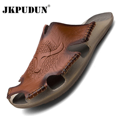 Summer Genuine Leather Men's Sandals Classic Breathable Slip-On Sandals Men Casual Beach Shoes Outdoor Slippers Plus Size 38-48
