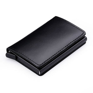 100% Genuine Leather Credit Card Holder RFID Blocking Men's Metal ID Card Case Aluminum Bank Cardholder Small Wallet