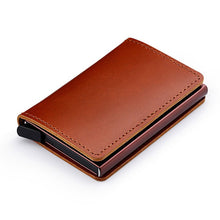 Load image into Gallery viewer, 100% Genuine Leather Credit Card Holder RFID Blocking Men's Metal ID Card Case Aluminum Bank Cardholder Small Wallet