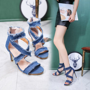 New summer sandals Europe and the United States fish-billed Roman women's shoes fashion denim high-heeled sandals