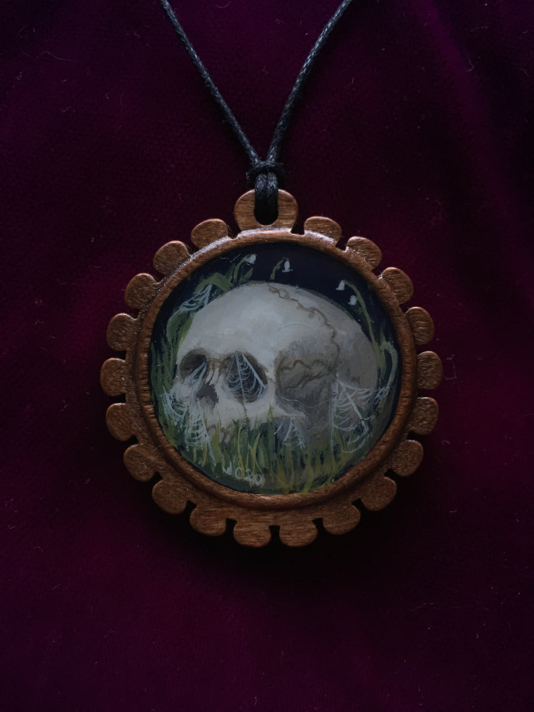 Wooden Death Garden Pendant - Cobwebs and Lily of the Valley
