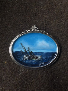 Sinking Ship Painted Brooch