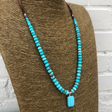Load image into Gallery viewer, Peyote Bird turquoise and leather necklace Pilar Lovato 6 whiskey six whisky