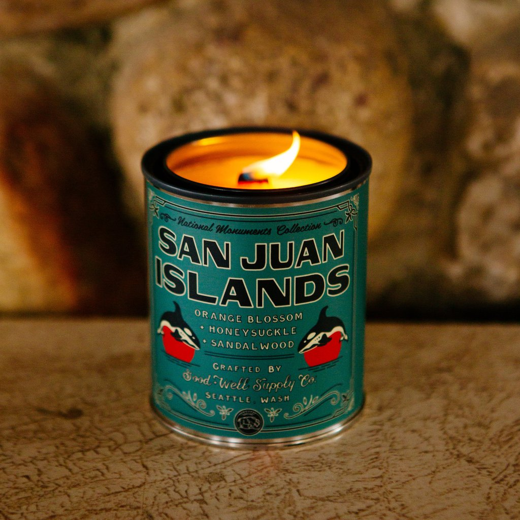 National Monument Candle San Juan Isaland 6 Whiskey Good&Well - orange blossom, honeysuckle, and sandalwood