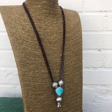 Load image into Gallery viewer, Peyote Bird turquoise leather blossom necklace 6 whiskey six whisky