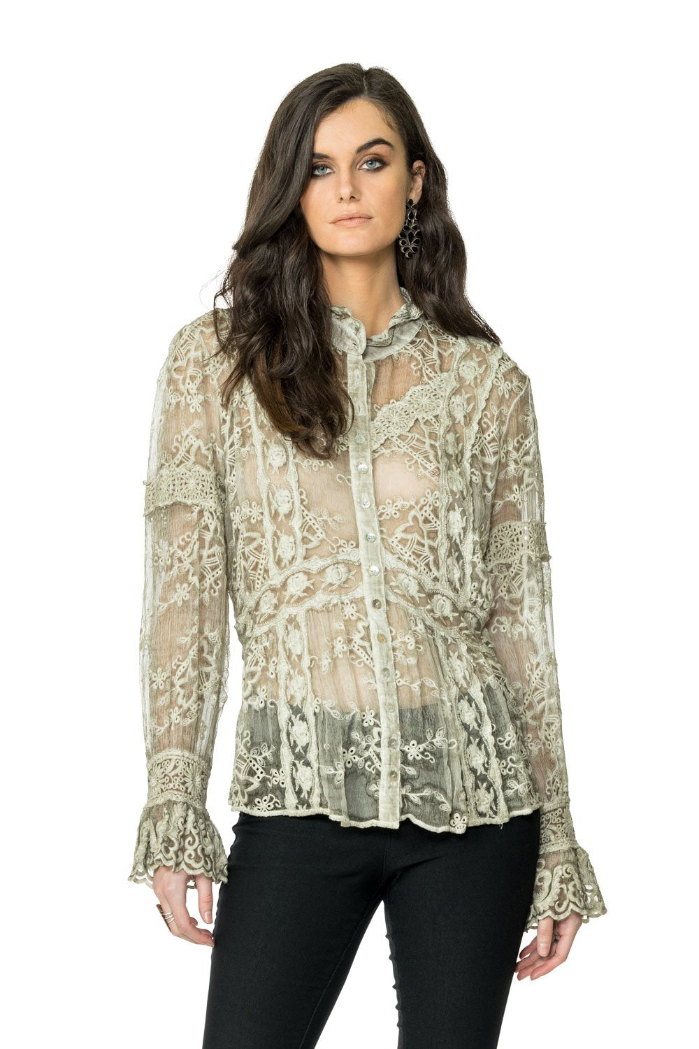 DDR Long Sleeve Lace Luciana Top in String at 6Whiskey six whisky Maria Spring 2021 T3420