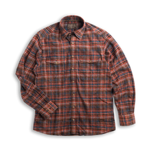Load image into Gallery viewer, Madison Creek Outfitters green river long sleeve shirt brown plaid MCO 6whiskey six whisky