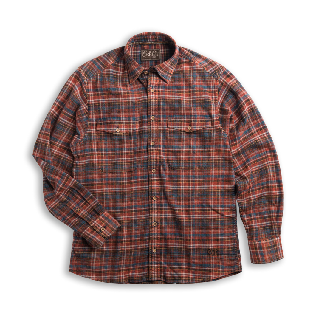 Madison Creek Outfitters green river long sleeve shirt brown plaid MCO 6whiskey six whisky