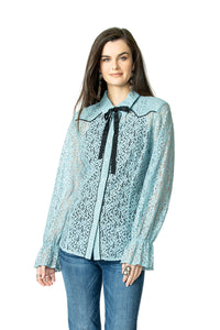 DDR Lil' Bit Country Top in Stardust Blue 6Whiskey Nashville Fall 2020 Long Sleeve Lace T3383