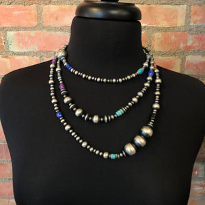 "Serape bead necklace 6 whiskey six whisky sterling silver Navajo beads 30"" length"