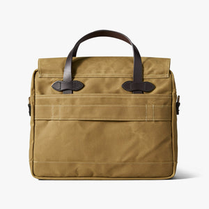 Filson briefcase at six whiskey back view dark tan