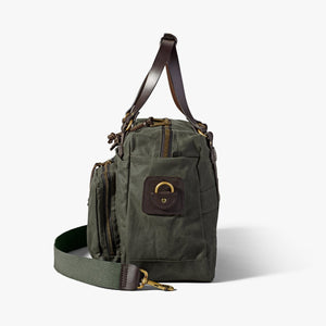 Side view of Filson at 6Whiskey 48 hour otter green duffle bag