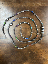 "Load image into Gallery viewer, Serape bead necklace 6 whiskey six whisky sterling silver Navajo beads 30"" length"
