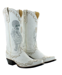 Old Gringo Selfit Boot in White with Metallic Skeleton at 6Whiskey
