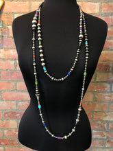 "Load image into Gallery viewer, Serape bead necklace 6 whiskey six whisky sterling silver Navajo beads 42"" length"