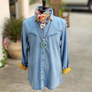 "Tasha Polizzi ~ Blue ""Limerock"" Tunic 6 Whiskey six whisky"