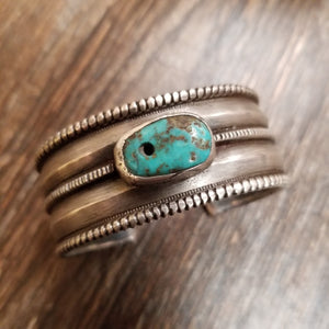 Vintage Coin Silver Cuff w/ Turquoise Trader Bead