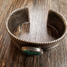 Load image into Gallery viewer, Vintage Coin Silver Cuff w/ Turquoise Trader Bead