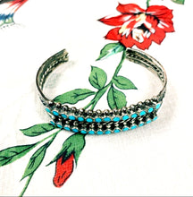 Load image into Gallery viewer, Peyote Bird Designs Double Row Turquoise Cuff Bracket