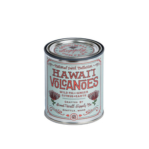 Hawaiian Volcano candle 6 whiskey good well supply all natural national park six whisky soy wood wick tin