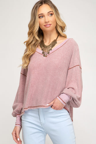 Long Sleeve Misty Mauve Pink Top