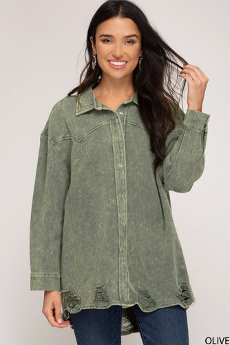 Olive Distressed Shirt Jacket