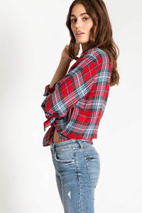 PJ Salvage Long Sleeve Red Plaid Shirt ~ Snowed In 6 Whiskey six whisky