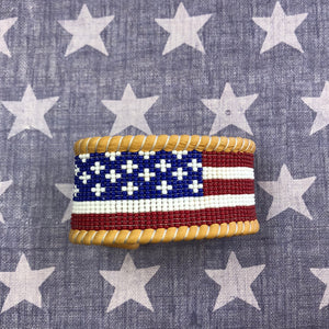 Hand beaded American flag leather cuff 6 Whiskey six whisky