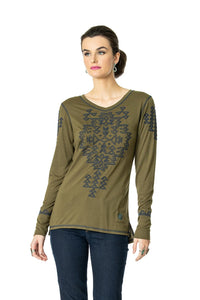 DDR Rocky Ridge Long Sleeve Embrodiered Tee in Alfalfa Green 6Whiskey six whisky T3374