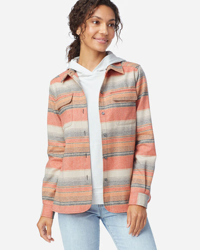 Pendleton Women's Board shirt in copper stripe, desert sunset at 6Whiskey six whisky open front