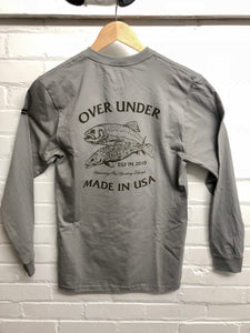 Over under long sleeve usa made t-shirt brown brookie 6whiskey six whisky 6 whiskey