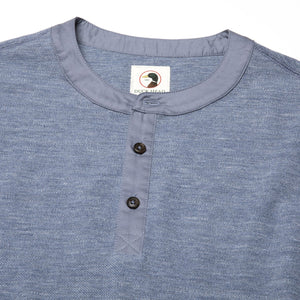 Duck Head Fall 2020 Heathered Henley in Slate Blue 6Whiskey