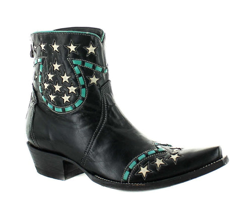 Double D Ranch Short Little Joe Boot in Black and Teal by Old Gringo at 6Whiskey