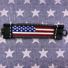 Load image into Gallery viewer, Hand beaded American flag leather cuff 6 Whiskey six whisky