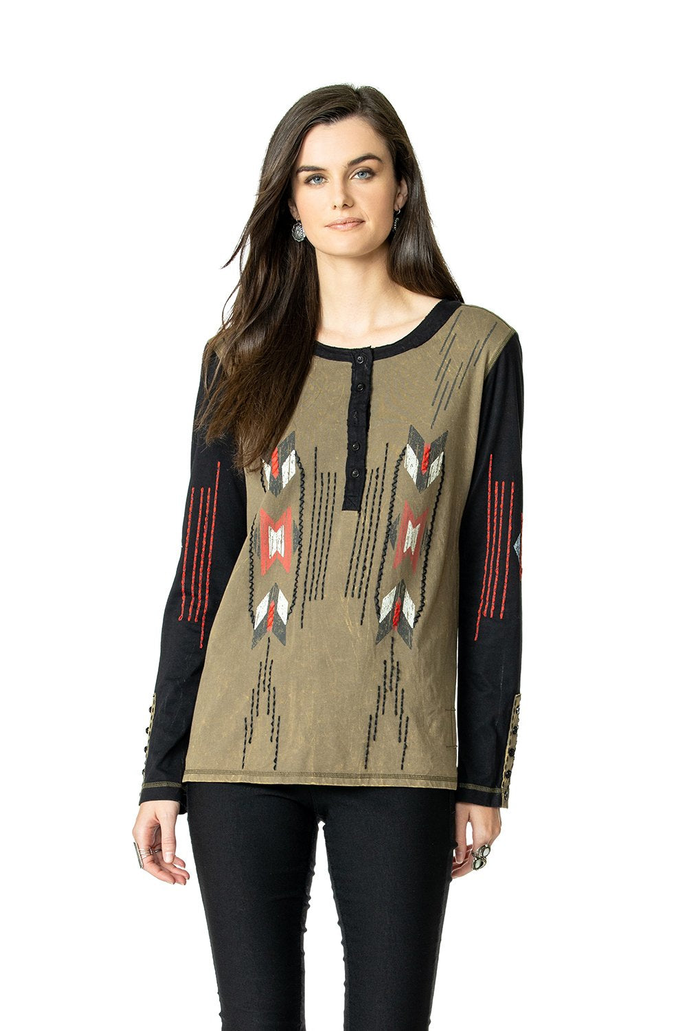Double D Ranch Chimayo Weaver Top in Alfala Green 6Whiskey Fall 2020 Nashville T3349