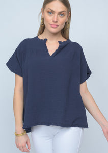 Navy Capsleeve popover v-neck top by ivy jane at 6Whiskey six whisky for women spring 2021