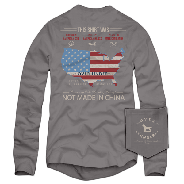 Over Under Men's Long Sleeve Tee 6Whiskey six whisky American Hands in Grey made in USA