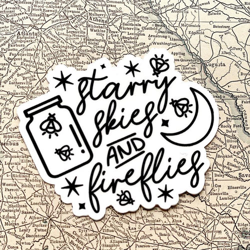 Starry skies and fireflies adventure outdoor sticker decal 6whiskey six whisky
