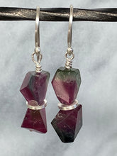 Load image into Gallery viewer, watermelon Tourmaline dangle earrings 6whiskey six whisky