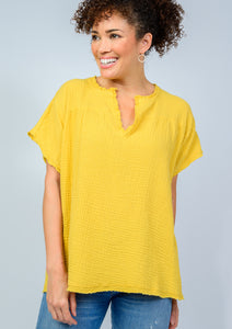 Mustard Capsleeve popover v-neck top by ivy jane at 6Whiskey six whisky for women spring 2021