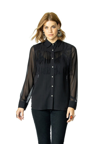 Double D Ranch Rockabillie Wanda Top 6Whiskey T3353 Nashville Fall 2020 Black Fringe